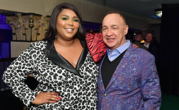 The artist Lizzo, whose album Cuz I Love You was released by Warner Music Group subsidiary Atlantic Records, and Access Industries owner Len Blavatnik, photographed at a pre-Grammys party on Feb. 7, 2019 in Los Angeles.