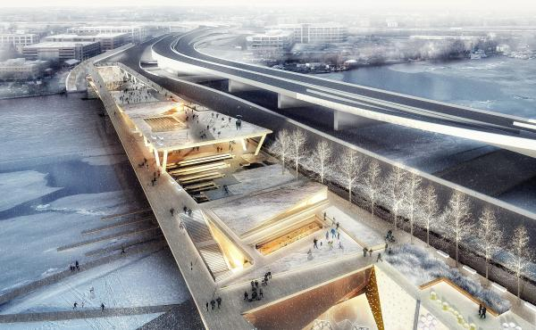 A rendering for the planned 11th Street Bridge Park in Washington, D.C.