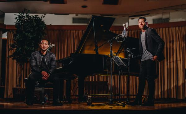 "John Legend (left) and Gallant perform Legend's song ""Overload"" in a new video."