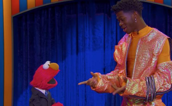 Elmo, left, and Lil Nas X perform on The Not-Too-Late Show.