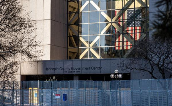 The Hennepin County Government Center is pictured on the third day of jury selection in the trial of former Minneapolis police officer Derek Chauvin on March 11. The prosecution and defense made their opening arguments on Monday morning.