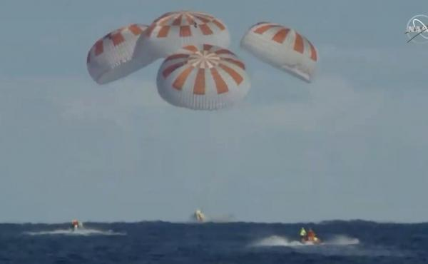 The Crew Dragon landed safely in the Atlantic Ocean on Friday morning, with a splashdown at 8:45 a.m. ET, as scheduled. The uncrewed craft had been on a test flight in which it docked with the International Space Station.