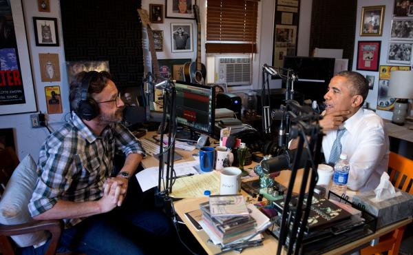 President Barack Obama participates in a podcast with Marc Maron in Los Angeles, on Friday.