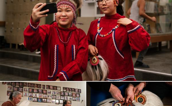 Top: Keziah Therchik (left) and Angel Charles take a selfie before performing Yup'ik dancing in Toksook Bay. Left: Dora Nicholai (in pink) dances at a community center, where portraits of the community's elders hang on a wall. Right: Women show Yup'ik dan