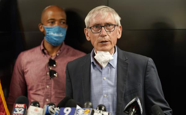 Wisconsin Gov. Tony Evers speaks during a news conference on Aug. 27, 2020, in Kenosha, Wis.