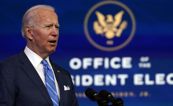 President-elect Joe Biden speaks about his COVID-19 relief plan Thursday evening in Wilmington, Del.