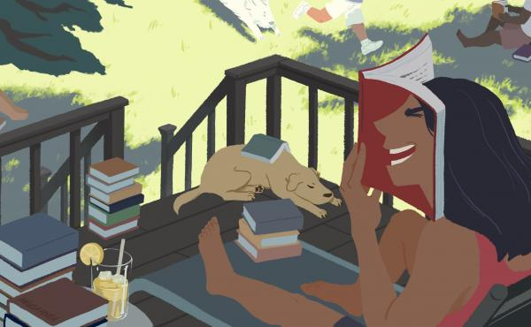 Illustration of a woman laughing while reading a book.