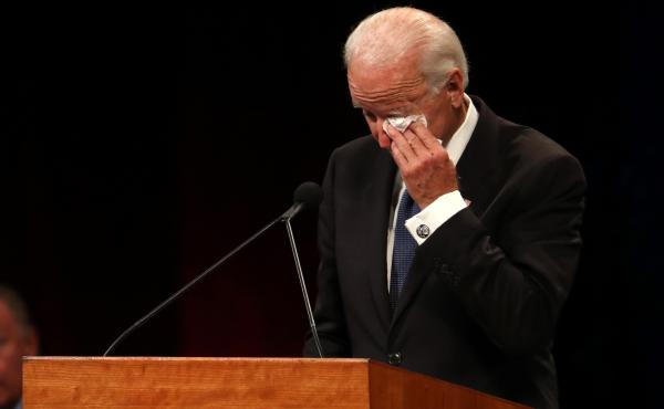 "Joe Biden speaking at a memorial service for John McCain, noted that he had given a lot of eulogies over the years. But, ""This one's hard,"" he said."