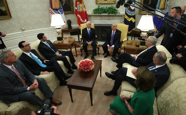 President Trump meets with congressional leaders in the Oval Office at the White House on Sept. 6. The deadline to fund the government and raise the debt ceiling is coming up on Dec. 8.