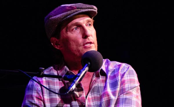 Matthew McConaughey plays game on Ask Me Another at the Paramount Theatre in Austin, Texas.