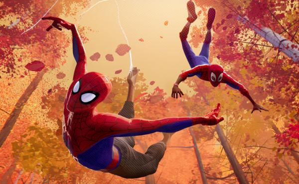Listen, bud: Peter Parker (voiced by Jake Johnson) and Miles Morales (voiced by Shameik Moore) swing into action in Spider-Man: Into the Spider-Verse.