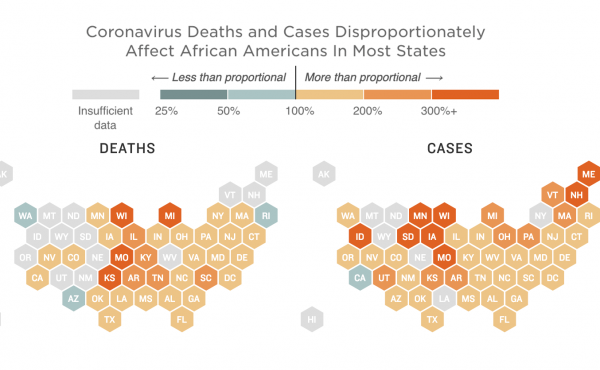 Map of cases and deaths from the coronavirus among African Americans