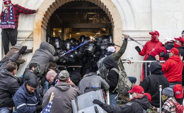 "A mob of pro-Trump extremists clash with police as they try to enter the U.S. Capitol, hoping to overthrow the results of the 2020 election. Washington, D.C., Mayor Muriel Bowser calls the violent takeover of the Capitol building a case of ""domestic terro"