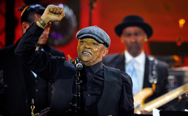 Hugh Masekela performs during the International Jazz Day 2015 Global Concert in Paris.