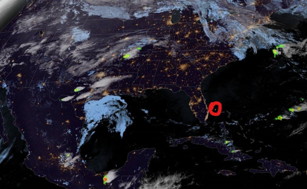 The National Weather Service Tampa Bay said its Geostationary Lightning Mapper captured the bright meteor that shocked Floridians late Monday as it burned up off the coast.