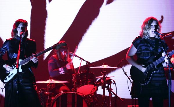 Sleater-Kinney performs on The Tonight Show Starring Jimmy Fallon on June 19, 2019. On July 1, drummer Janet Weiss announced her departure from the band after more than 20 years.