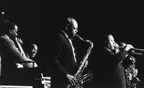 Saxophonist Coleman Hawkins and trumpeter Dizzy Gillespie in concert with the Cannonball Adderley Quintet in November 1960.