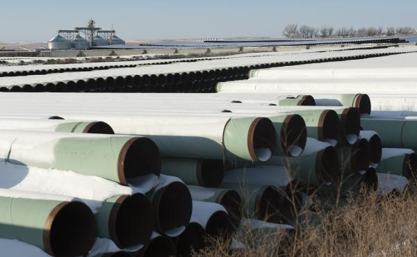 Pipes for TransCanada's planned Keystone XL pipeline are stored in Gascoyne, N.D. The U.S. House has voted to approve the proposed project, which would allow crude oil to flow from Canada to the Gulf of Mexico. The Senate plans to vote Tuesday on legislat