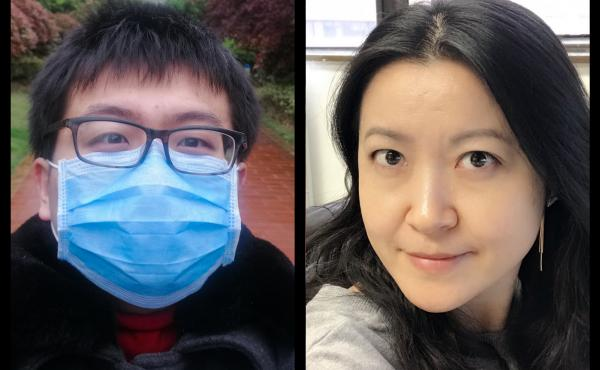 Left: Xi Lu had traveled to Wuhan in January to spend the Lunar New Year with his parents, having not been with his them for the holiday in over seven years. Lin Yang, an epidemiologist at Hong Kong Polytechnic University also traveled to Wuhan to visit h