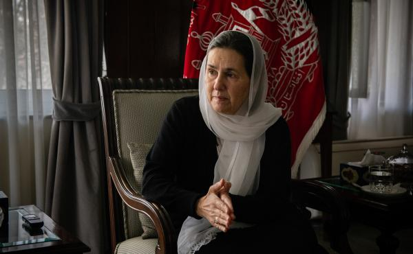 First lady Rula Ghani at the Presidential Palace in Kabul, Afghanistan. Earlier this year, she helped free more than 190 Afghan women and girls imprisoned for failing the virginity test after reproductive rights activist Farhad Javid brought it to her att