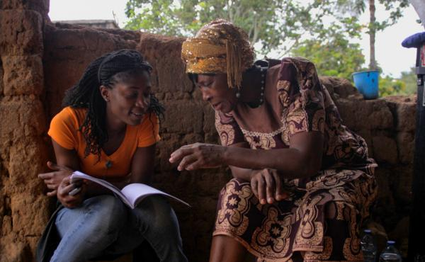 Rosine Mbakam (left) and her mother on the set of 'The Two Faces of a Bamiléké Woman,' which represents their intergenerational differences.