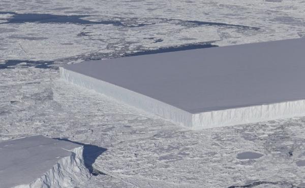 "NASA scientists spotted this ""tabular iceberg"" floating near the Larsen C ice shelf in Antarctica."