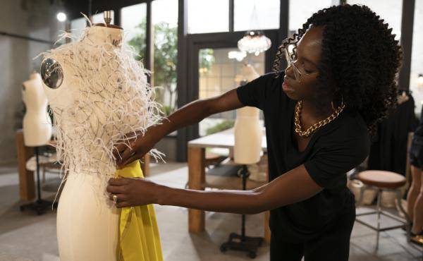 Designer Andrea Pitter is competing on season two of Making the Cut.