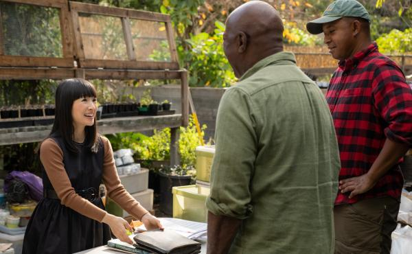 Marie Kondo, Jim and Logan in episode 1 of Sparking Joy on Netflix.
