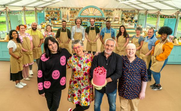 Noel, Prue, Paul and Matt with the bakers. The new season of The Great British Baking Show is on Netflix now.