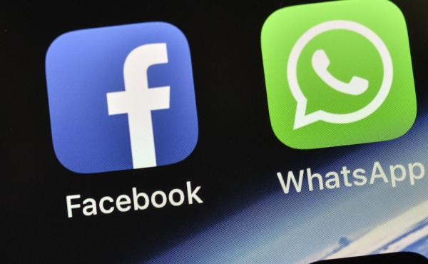 The icons of Facebook and WhatsApp.
