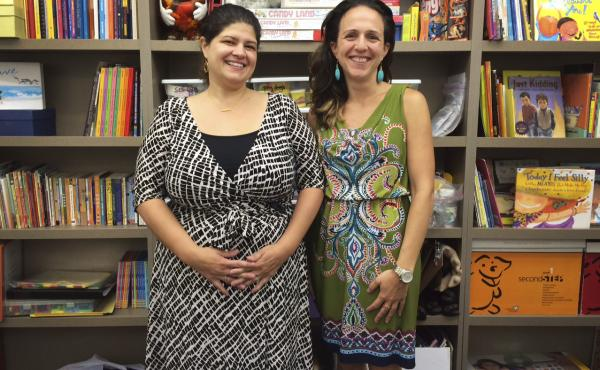 Principal Jessica Nauiokas (left) with social worker Gabriella Cassandra at Haven Academy in the Bronx, N.Y.