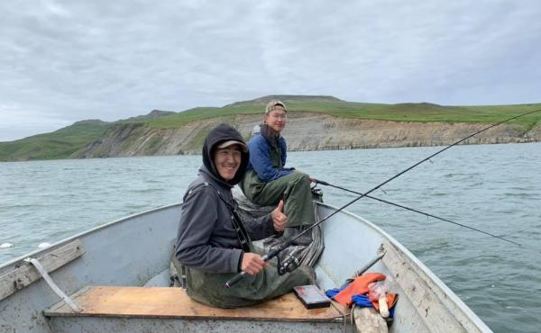 Ethan Lincoln, 17, fishes for king salmon and red salmon with his cousin Avery Tulik in the Kangirlvar Bay, Alaska.