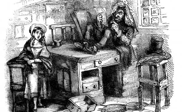 """Quilp, the epitome of evil in Charles Dickens' The Old Curiosity Shop, seen here with Little Nell, is a dwarf with the head of a giant and a """"few discolored fangs"""" for teeth. But his most grotesque trait is his trick of drinking """"boiling tea without winki"""