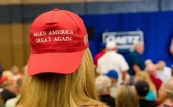 Supporters of former President Donald Trump gather to hear Reps. Marjorie Taylor Greene, R-Ga., and Matt Gaetz, R-Fla., speak last week at a rally in Dalton, Ga.