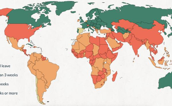World map of paternity leave.
