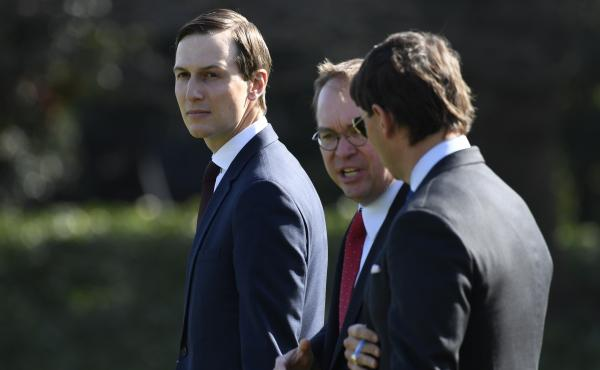 White House adviser Jared Kushner (left) is among those whose security clearances are being questioned by Democrats.