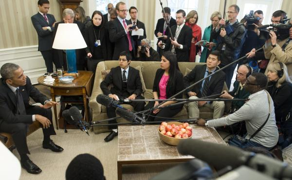 President Obama speaks about immigration reform during a meeting with young immigrants in the White House on Feb. 4. The president's 2014 executive actions on immigration have been caught up in a legal dispute, which the White House has appealed to the Su