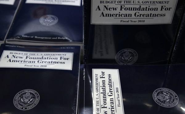 Stacks of President Trump's FY2018 budget proposal are seen during a photo availability Tuesday on Capitol Hill.