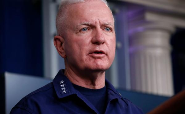 Adm. Brett Giroir, who has been leading federal coronavirus testing efforts, speaks during one of the daily White House coronavirus task force briefings in April.