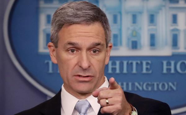 Acting Director of U.S. Citizenship and Immigration Services Ken Cuccinelli speaks about immigration policy at the White House on Aug. 12. Immigration hard-liners are pushing for him to be the next secretary of homeland security.
