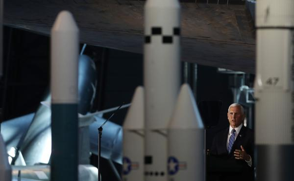 Vice President Pence speaks during a meeting of the National Space Council last week in Chantilly, Va. Pence and President Trump have pushed hard for the establishment of a separate Space Force — and they hope the revival of U.S. Space Command will help