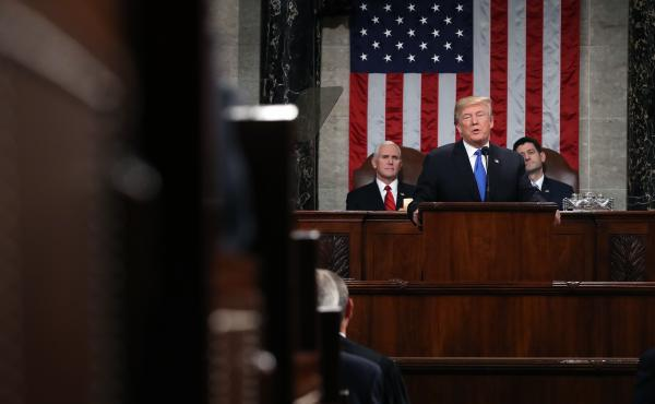 President Trump delivers his first State of the Union address on Jan. 30, 2018, in the House Chamber of the U.S. Capitol. The White House is moving forward with plans for this year's speech on Jan. 29, but it's unclear whether House Speaker Nancy Pelosi w