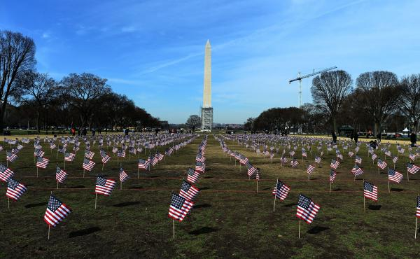 "Some 1,892 American flags are installed on the National Mall in Washington, DC in 2014. The Iraq and Afghanistan veterans installed the flags to represent the 1,892 veterans and service members who committed suicide this year as part of the ""We've Got You"