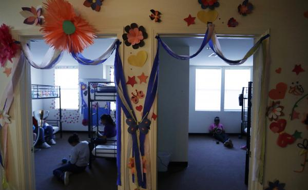 A 2019 photo shows a U.S. government holding center for migrant children in Carrizo Springs, Texas. The facility was reopened by the Biden administration and an independent TV camera is being allowed in to capture new images of conditions there on Wednesd