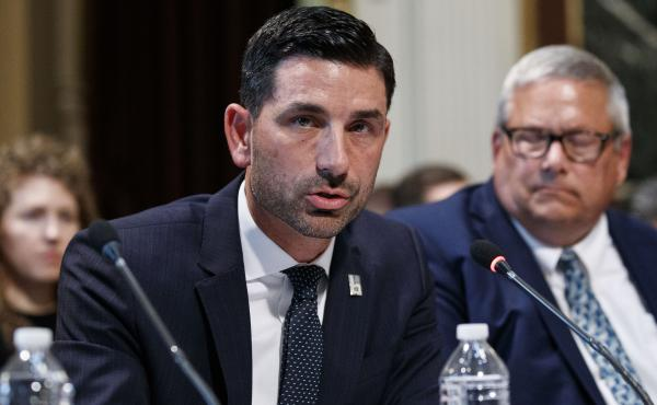 Department of Homeland official Chad Wolf speaks during a meeting earlier this month in Washington, D.C. President Trump is set to pick wolf to lead DHS in an acting capacity.