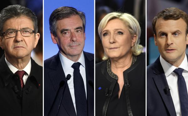 French Presidential candidates: Jean-Luc Melenchon (left), Francois Fillon, Marine Le Pen and Emmanuel Macron.