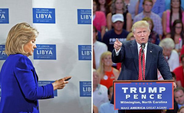 L: Hillary Clinton checks her phone at the Libyan Conference in 2011 in London; R: Donald Trump speaks at a campaign event Aug. 9 in North Carolina.