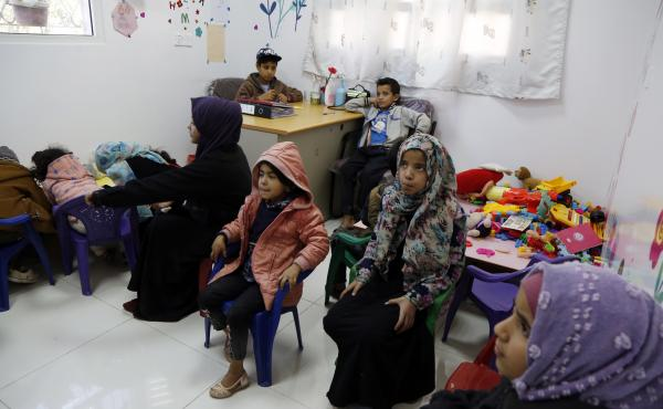 Yemeni children diagnosed with cancer wait to receive treatment at an oncology ward of a hospital in Sana'a on February 4. A new study looks at the impact of COVID-19 on kids with cancer.