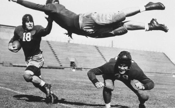 Football rules, uniforms, helmets and protective gear have changed a lot over the years.