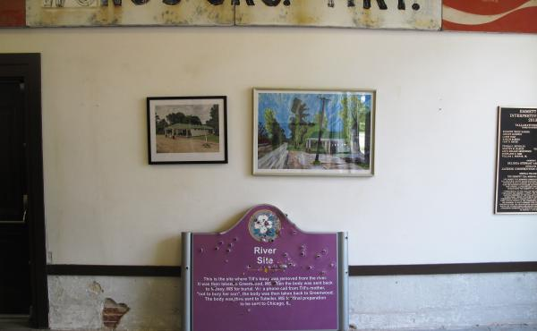 A bullet-riddled sign that once marked where Emmett Till's body was pulled from the Tallahatchie River is now housed at the Till Interpretive Center in Sumner, Miss. The historic marker was taken down after three white fraternity brothers from the Univers